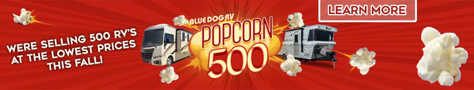 Blue Dog RV Popcorn 500 Banner