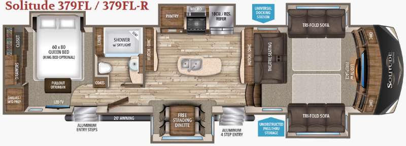 Grand Design Solitude 379FL Front Living Fifth Wheel Floorplan