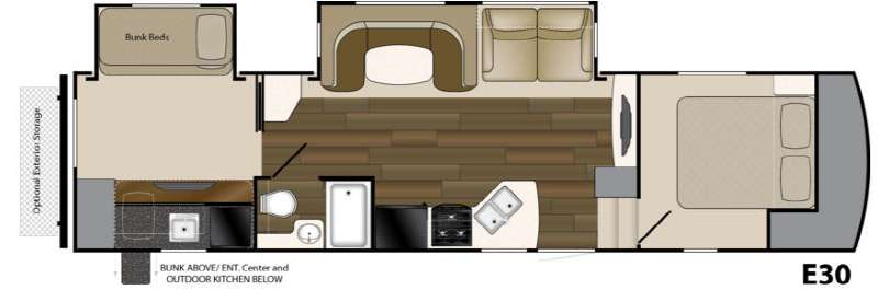 Heartland Elkridge E30 Fifth Wheel Bunkhouse Floorplan