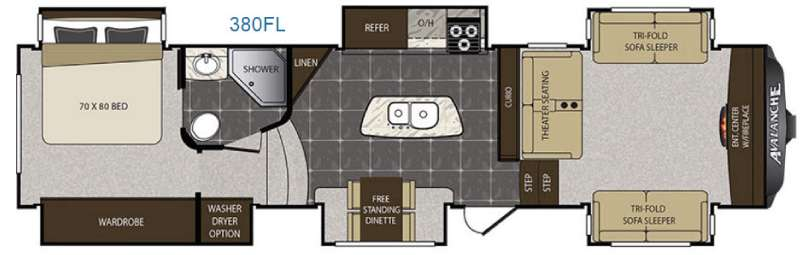 Keystone Avalanche 380FL Fifth Wheel Floorplan