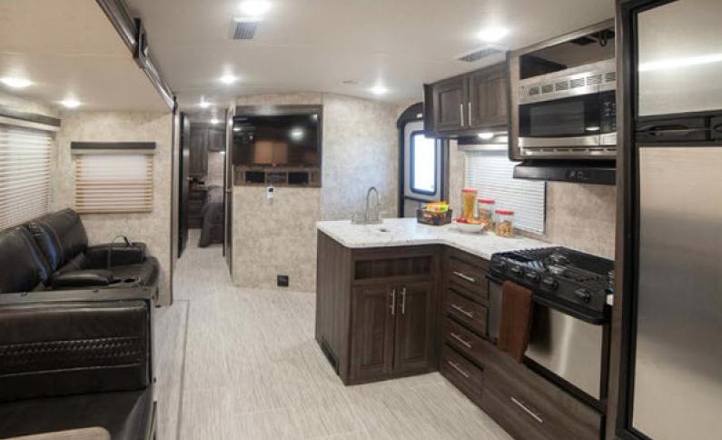 open range travel trailer kitchen
